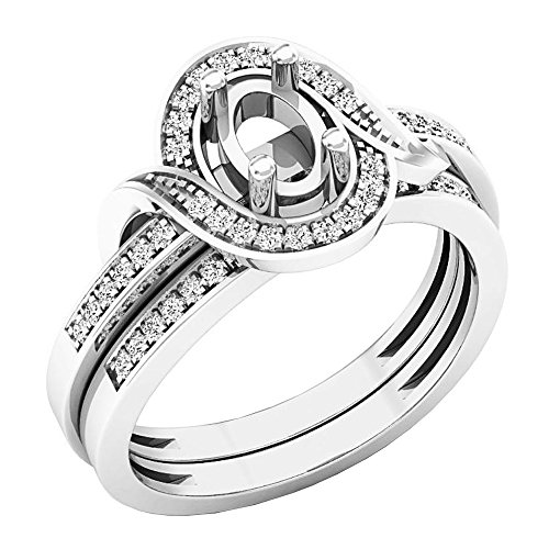 0.18 Carat (ctw) 10K White Gold Round Diamond Ladies Semi Mount Ring Set (Size (Diamond Fancy Ring Mounting)
