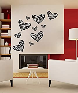 24.02x27.56in Graffiti Hand Drawing Like Wall Decals Zebra Print Wall Decal  Heart Shape Part 70