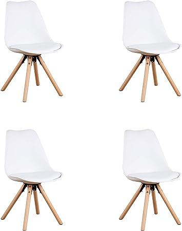 GroBKau Set di 4 Sedie da Pranzo con Sedile Imbottito Bianca Base in Metallo Solido e Gambe in Legno di Faggio