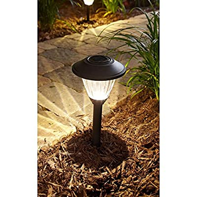 Hampton Bay Textured Black Solar LED Pathway Light Set (8-Pack) Rechargeable battery included