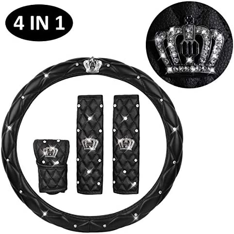 IYOYI Universal Protection Cover Set : Bling Crystal Steering Wheel Cover+2pcs Car Seat Belt Shouldads + Gear Shift Non-Slip Mats Bling Crown Decor Car Accessories (4PCS-Leather)