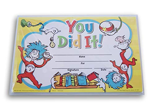 Dr. Seuss Cat in the Hat You Did It! Recognition Awards Certificates - 18 -