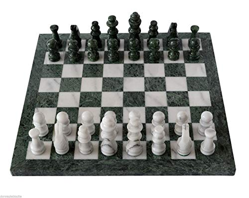 (Italian Green and White Marble Chessboard Scacchiera Handmade Classic Table Chess Set with Pawns 40x40cm 16in)