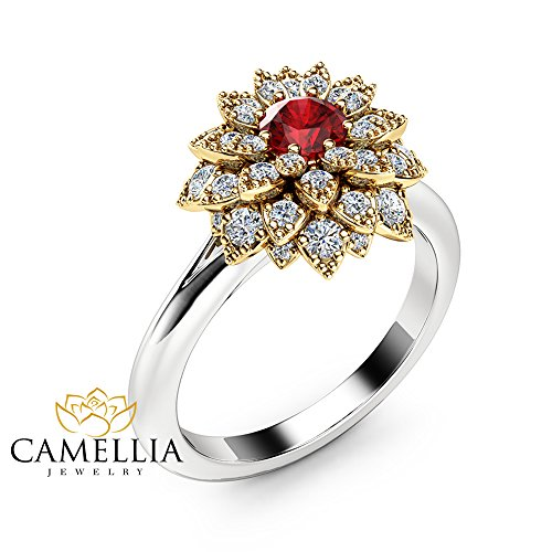 Unique 14K 2 Tone Gold Ring Natural Ruby Flower Engagement Ring ()