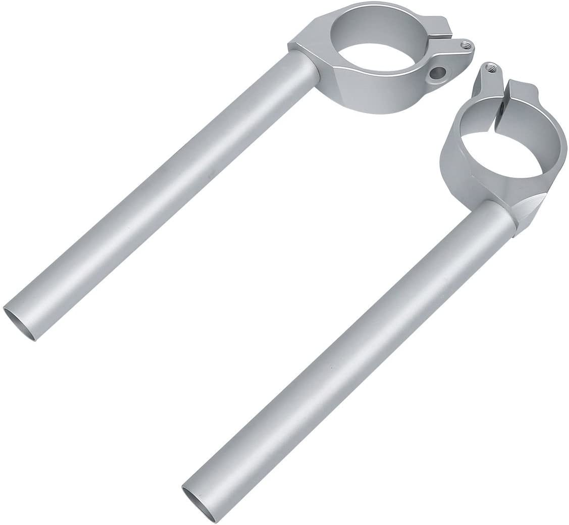 XFMT 50mm Left/&Right Handle Bar Clip On Silver Compatible with YAMAHA YZF R6 600 2006 2007 2008 2009 2010