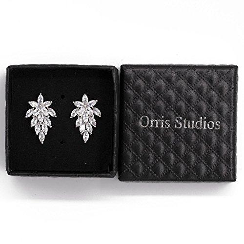 Orris Studios Sparkling Crystal Leaf Stud Earrings Silvery ()