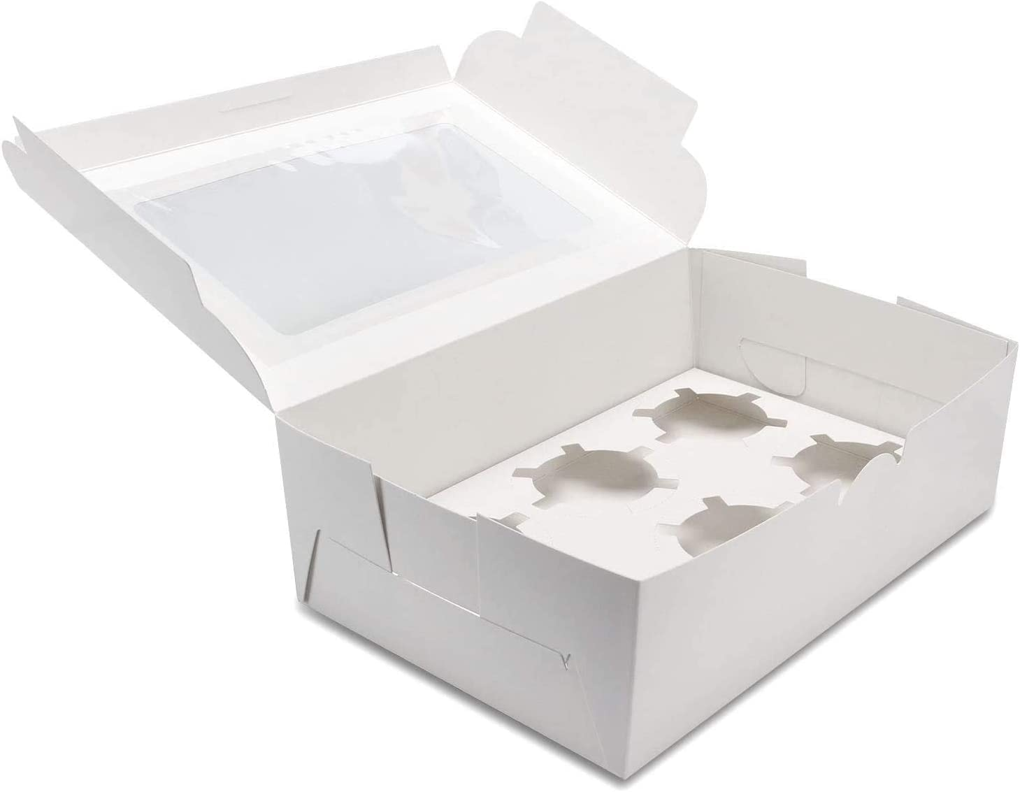 [30-Set]2.9x6.3x9.3 Inch Cupcake Boxes Hold 6 Standard Cupcakes, White Bakery Boxes with Window Cupcake Boxes, Cupcake Containers, Food Grade Cupcake Holders for Cookies, Muffins, Pastries (White)