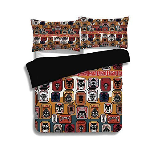 SINOVAL Black Duvet Cover Set Full Size,Primitive,Native American Indian Maya Face Mask in Different Expressions Universal Totem,Multicolor,Fashion 3 Pcs Bedding Set by 2 Pillow Shams
