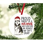 Andaz Press Round MDF Natural Wood Christmas Tree Ornament Dog Lover's Gift, Malamute, Watercolor, 1-Pack, Pet Animal Birthday Gift for Him Her Dog Mom Family 8