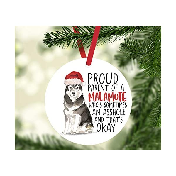 Andaz Press Round MDF Natural Wood Christmas Tree Ornament Dog Lover's Gift, Malamute, Watercolor, 1-Pack, Pet Animal Birthday Gift for Him Her Dog Mom Family 2