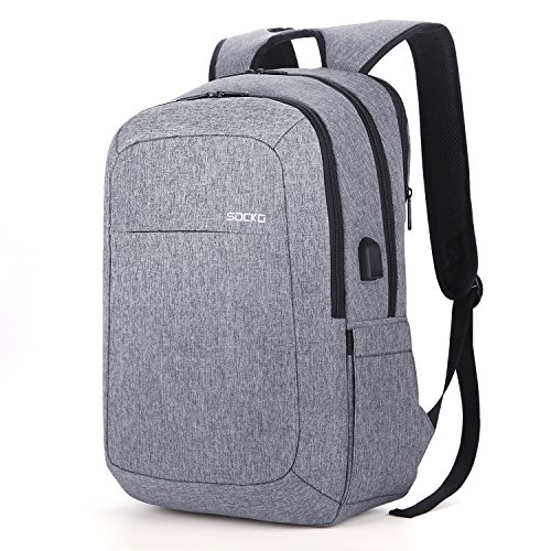 SOCKO 17.3 Inch Laptop Backpack w/USB Charging Port,Water Resistant Business Backpack Slim Light Weight College Computer Bag Rucksack Outdoor Work Bag for Men Women Fits 13,14,15,17 Inch Laptop,Gray