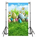 Easter Photography Backdrops Cuekondy Spring Easter Eggs Green Grass Floral Background for Children Adult Portraits Photo Backdrop Studio Props (D, 90X150cm)
