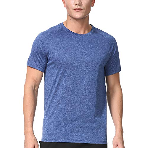 Men's Dry Fit Athletic T-Shirts, Short Sleeve Crew Neck Workout Tees, Blue XL