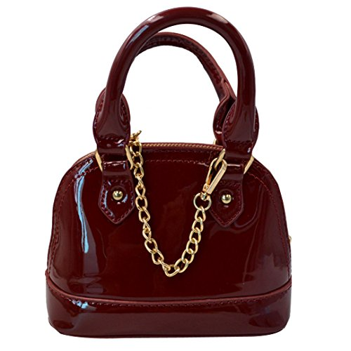 Zip Around Dome Patent Leather Satchel Mini Top Handle Toe Bag Shell Shape Purse Handbags Wine Red