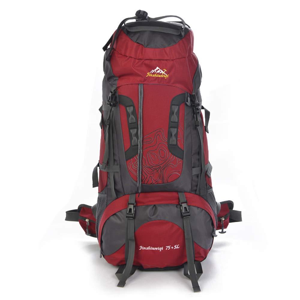 75L大容量屋外ハイキングバックパック、多機能の男性と女性の防水ライディングレジャーバックパック、キャンプ、ハイキング、旅行、登山に適しています  Red B07R616CVK