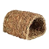 UEETEK Small Animal Natural Woven Grass Hut Bed House Straw Grass Hamster Cubby Nest Cage for Hamster Gerbil Chinchillas (Tunnel Shaped)