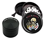 Micro Crusher - Personalized Classic Engraved - Poker Skull Design - 2.5'' Large Size 4 Pcs Pollen Catcher Grinder - With FREE Scraper # BKENG33017-327