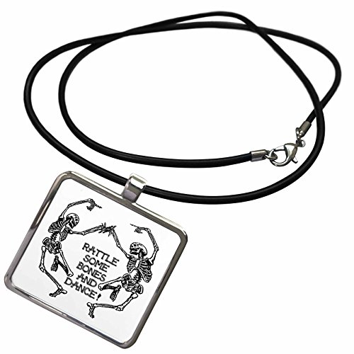 3dRose Sandy Mertens Halloween Designs - Skeletons Dancing - Rattle Some Bones and Dance - Necklace with Rectangle Pendant -
