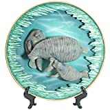 Amy and Addy The Gray Rock Collection Series Marine Life Animal Resin 11 Inch Diameter Decorative Art Piece - MANATEE FAMILY Sculpture with Plate Base