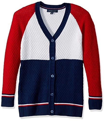 Tommy Hilfiger Big Girls' Long Length Cardigan Sweater, Block Flag Blue, XL16 (Tommy Hilfiger Women Cardigan)