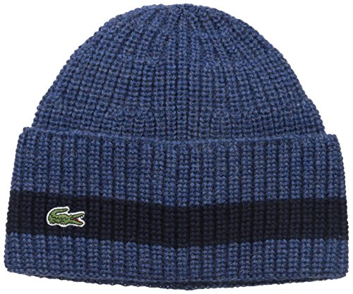 Lacoste Men's Rib Knitted Contrast Beanie, Anchor Chine/Blue Pigment Chine, One Size