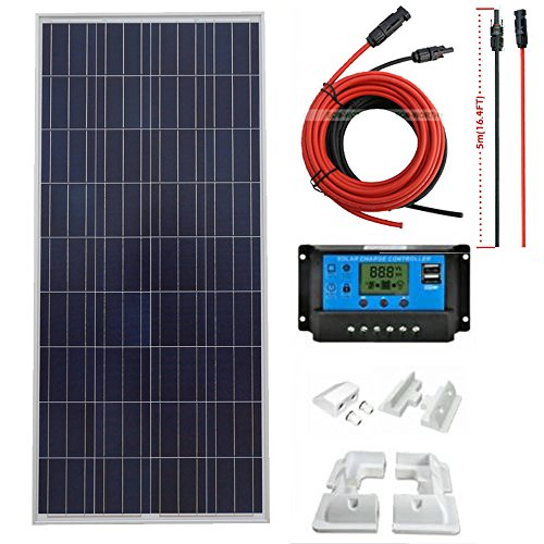ECO-WORTHY 150W Solar Panel Kit Charging 12V Battery Power With Solar Panel Bracket for RV, Boat, Cabin, Off-Grid 12 Volt Battery System Cabin Solar Systems