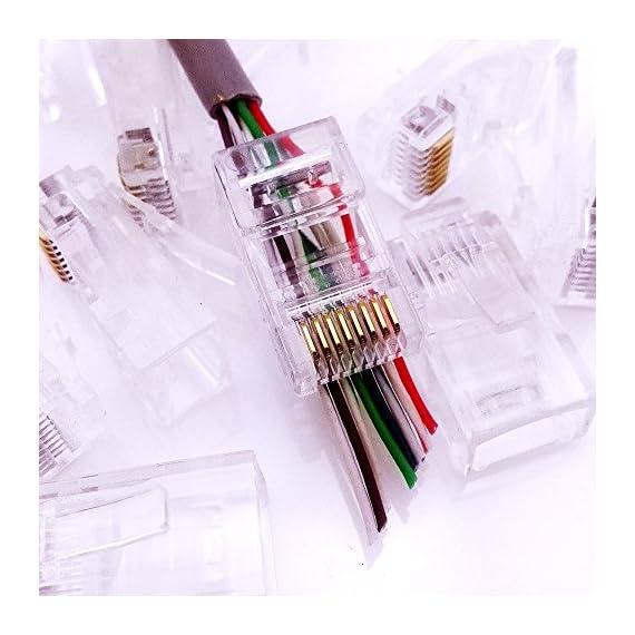 CESS Pass Through Type RJ45 RJ-45 8P8C CAT5 CAT5e Modular Ethernet Gold Plated Net Network End Plug Cable Connectors (LW) (20 Pack) 2