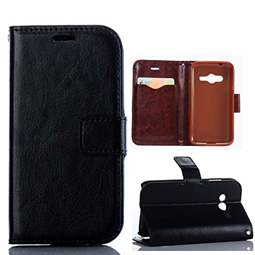 Ace 4 Lite,Ace 4 Lite Case,Ace 4 Lite Cover,Ezydigital Carryberry Flip Pouch Cover Card Holder PU Leather Skin Case Cover for Samsung Galaxy Ace 4 Lite G313/ace NXT SM-G313H-Black