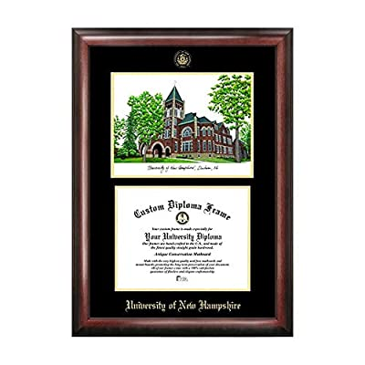 Campus Images Sports Team Logo Design University of New Hampshire Gold Embossed Diploma Frame with Campus Images Lithograph
