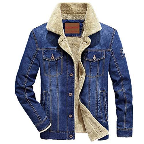denim uomo Cappotto pelliccia jeans per celeste con Giacca invernale Winterjacke wpHExUqUdC