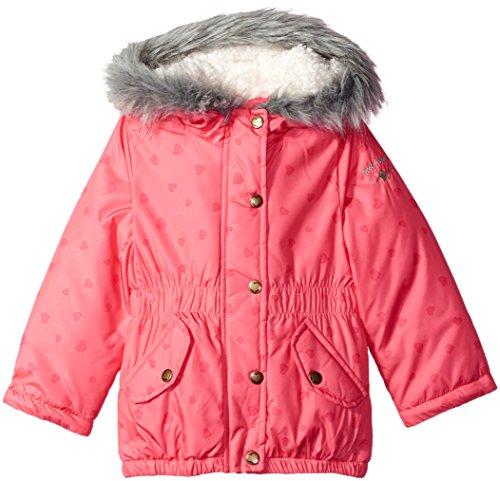 Osh Kosh Little Girls' Hooded Cinched Heavyweight Jacket Coat, Sophie Pink Heart, 6X Oshkosh Heart