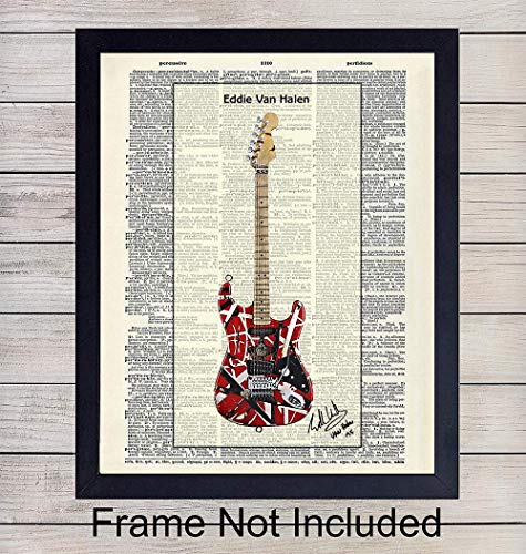 Eddie Van Halen Guitar - Wall Art Print on Dictionary Photo - Ready to Frame (8x10) Vintage Photo - Great Gift for Music and Rock n Roll Fans - Cool Steampunk Home Decor ()
