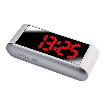 Reloj despertador multifunción reloj electrónico digital 12H 24H Pantalla LED de alarma Decoración Espejo con Temperatura: Amazon.es: Bricolaje y ...