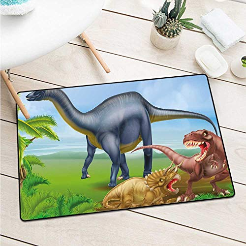 Dinosaurdifferent Types of Dinosaurs Natural Jungle Environment T-Rex Triceratops Cartoon Catch Dust Snow and Mud (W23.6 X L35.4 inch,Multicolor) ()