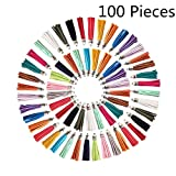 Vfond 100 Pieces 55 mm Leather Suede Tassel with Caps for Jewelry Making Findings, Cellphone Straps and DIY Accessories
