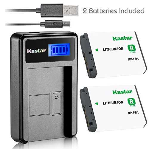 Kastar Battery (X2) & LCD USB Charger for Sony NP-FR1, BC-TR1, TRN and Sony Cyber-Shot DSC-F88, DSC-G1, DSC-P100, DSC-P100/LJ, DSC-P100/R, DSC-P120, DSCP150, DSC-P200, DSC-T30, DSC-T50, DSC-V3 (T30 Usb)