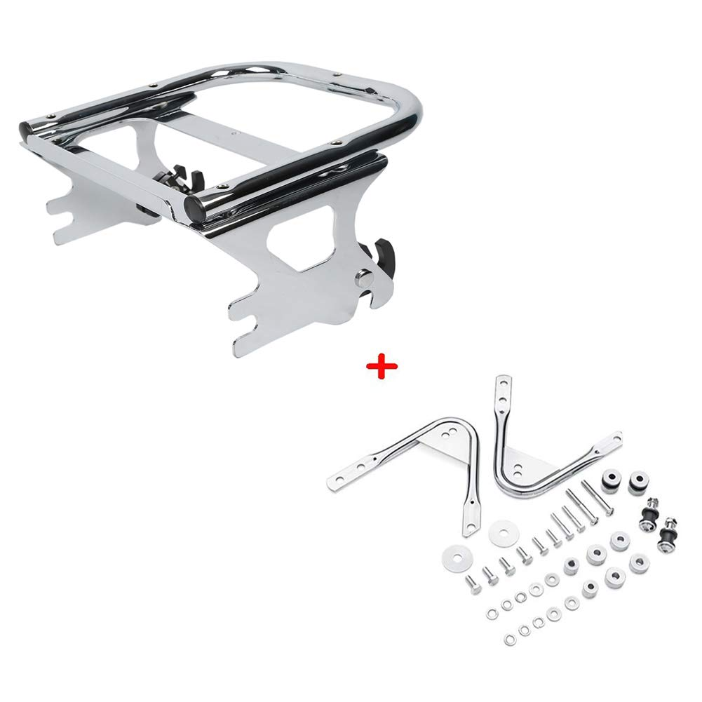 XMT-MOTO Detachables Two-Up Tour-Pak Mounting Rack Replace for Part Number 53276-04A Fit for Harley Davidson Touring models 1997-2008 Chrome Replace for Part Number 53804-06 +Docking Hardware Kits