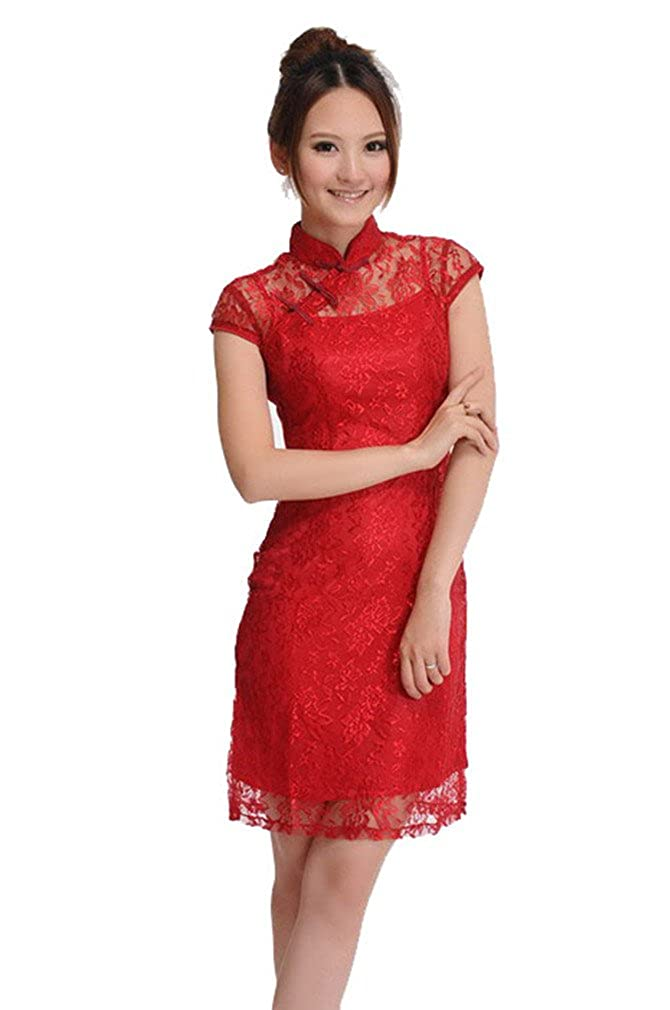 db40629e1 Jtc Women's Red Lace Silk Chinese Short Cheongsam Dress 1pc at Amazon  Women's Clothing store: Adult Exotic Dresses