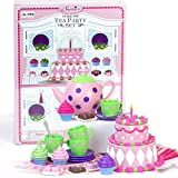 18 Inch Doll Tea Party & Cake Play Food Set, Complete 25 Pc. Doll Accessory Set Perfect for 18 Inch American Girl Dolls & More! Mini Doll Food Set.