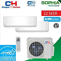 18,000 BTU 2 Zone Ductless Mini Split 21 SEER Sophia WiFi Ready (9k+12k) Energy Star