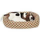 32 inch Burnt Orange Bamboo Sherpa Bagel Dog Bed