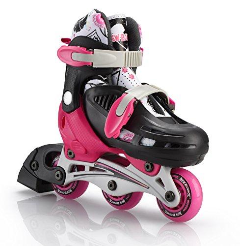 Roller Skate Junior - New Bounce Premium 2 in 1 Convertible Roller Skate Junior Size 8-11, Tri Wheel Skate or Inline Skates