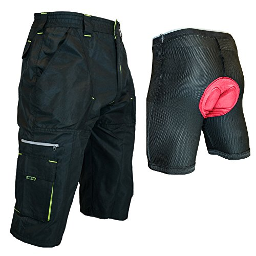 Urban Cycling Apparel The Gravel 1/2 Pants – Long Mountain Bike MTB Baggy Shorts with 7 Pockets, Side Vents, and Dry-Fast Wicking (Large, Black/Yellow with Undershorts) For Sale