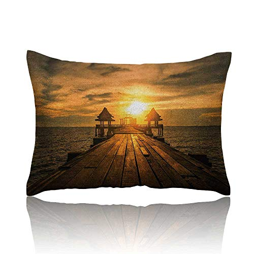 Anyangeight Beach Pillowcase Wooden Dock Serene Bangkok Bay Morning Sunshine and Ocean Picture Print Travel Pillowcase 18