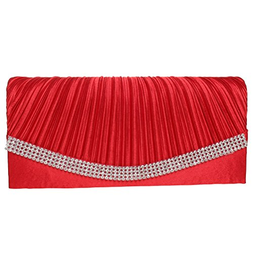 Evening Clutch, FASHIONROAD Womens Satin Crystal Envelope Clutch Purses For Wedding And Party Red