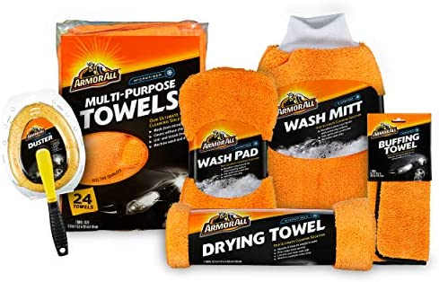 Armor All Microfiber Car Cleaning Towels Kit, Cleaner for Bugs, Dirt & Dust, For Cars & Truck & Motorcycle, Includes 29 pieces, 19121