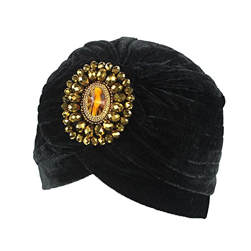 Decou Twist Pleated Hair Wrap Stretch Turban 0545 ,Black,One size ()
