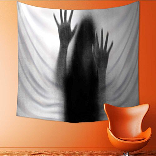 Analisahome Abstract Art Splatter Painting Home Decor,Silhouette of Woman behind the Veil Scared to Death Obscured Paranormal Gray Tapestry Wall Hanging Art/59W x 59L INCH by Analisahome