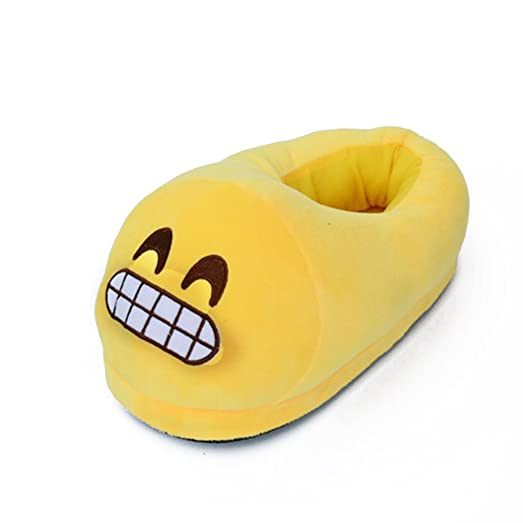 Non Slip Winter House Slippers Soft Plush Slippers 28.5cm (Funny Yellow Grinning Face)