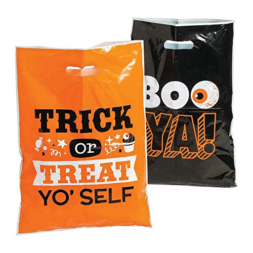 Halloween Funny Sayings Large Party Favor Trick or Treat Candy Bags - 17 Inch - 50 Piece Pack]()